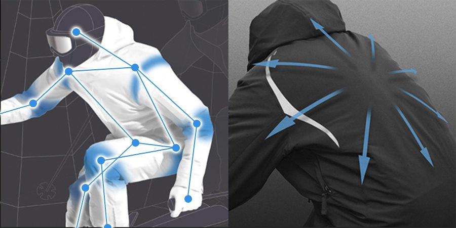 Disegno esplicativo dello sciatore che piega le ginocchia e la schiena